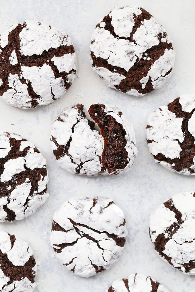 Gluten-Free Peppermint Chocolate Crinkle Cookies