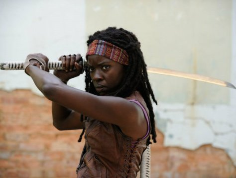 Michonne, uses a samurai sword like the bishop from this week.