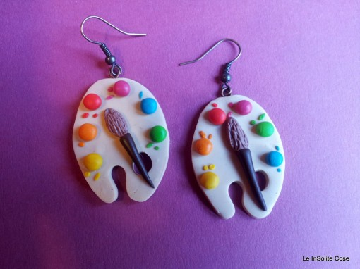 Artist's Palette Fimo Earring - Handmade with Love www.leinsolitecose.com - Italy (1)