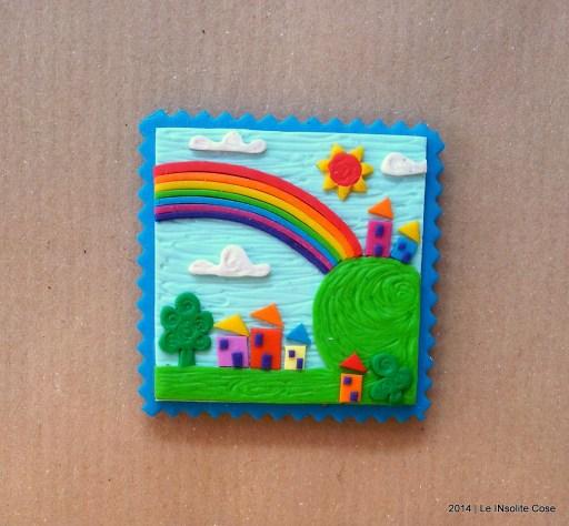 Cartoline dal Mio Mondo - Calamite Paesaggetti con Arcobaleno - Handmade with Fimo, without stamps - Le InSolite Cose 2014 (1)