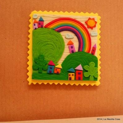 Cartoline dal Mio Mondo - Calamite Paesaggetti con Arcobaleno - Handmade with Fimo, without stamps - Le InSolite Cose 2014 (14)