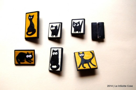 spille con gatti in fimo - handmade with love - le InSolite Cose