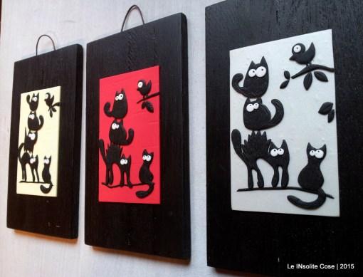 Quadri Gatti stilizzati con uccellini – verticali. 2015
