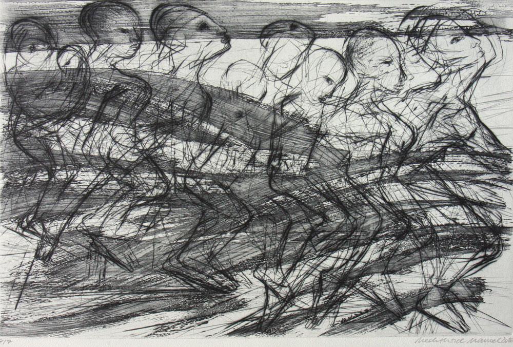 Mechthild Mansel, Passage, 2016, Kaltnadel/White-ground-Ätzradierung, 32 x 50 cm