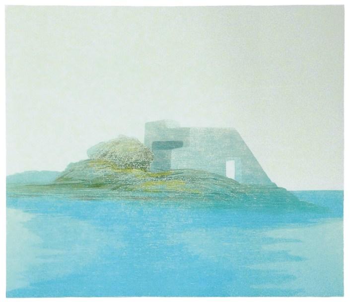 Petra Schuppenhauer, Insel, 2016, Farbholzschnitt, verlorene Form, 30 x 35 cm