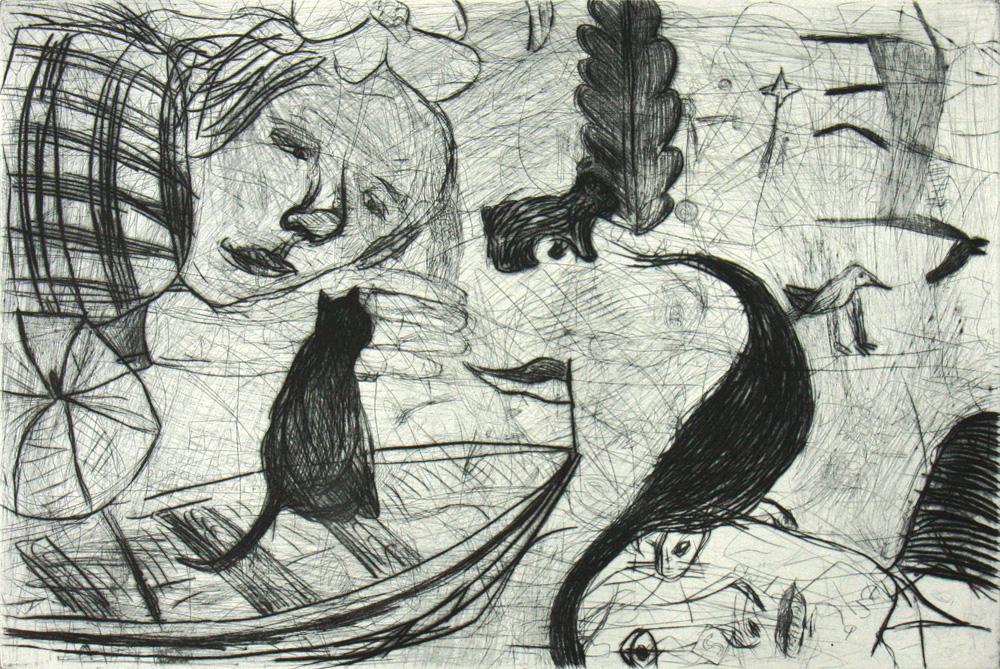 Heike Wadewitz, Traum, 2016, Kaltnadel, 24 x 35,5 cm