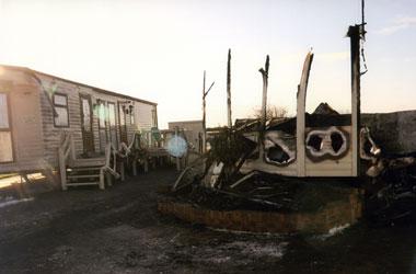 Static caravan fire remains