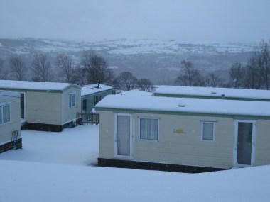 Static caravan in winter
