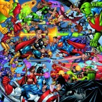 Marvel and DC Superheroes clashing in battle