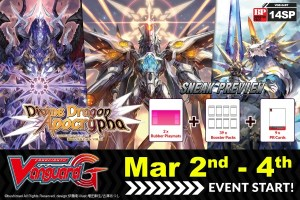 Image used for the Divine Dragon Apocrypha Sneak Preview at Leisure Time Games on Friday, March 2nd