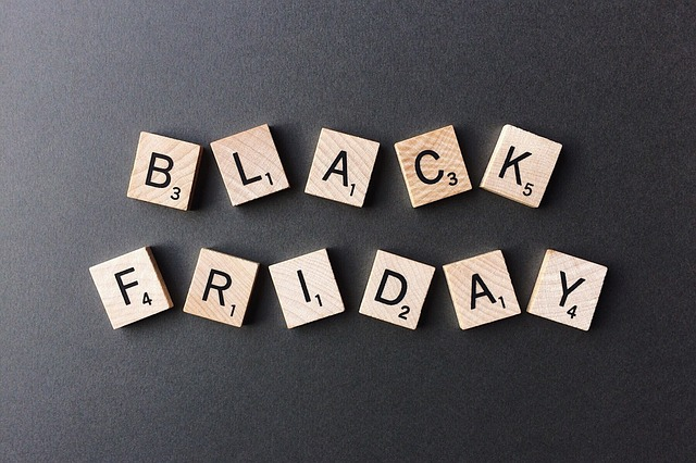 Black Friday written with Scrabble tiles used for the Leisure Time Games black friday weekend sale