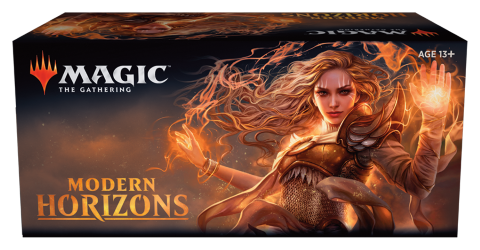 Image of a box of Modern Horizons boosters available for pick up at the Modern Horizons Prerelease Weekend at Leisure Time Games