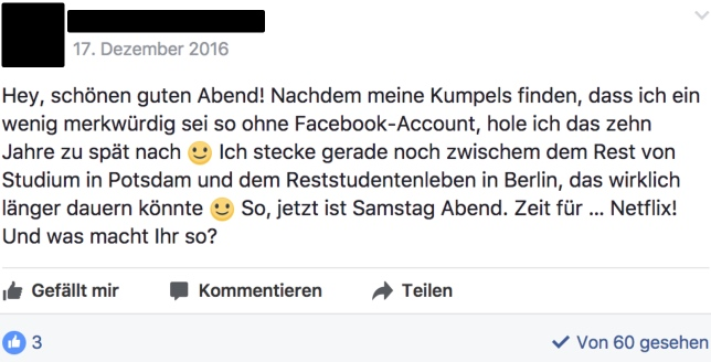 Facebook Faceprofil Selbstvorstellung