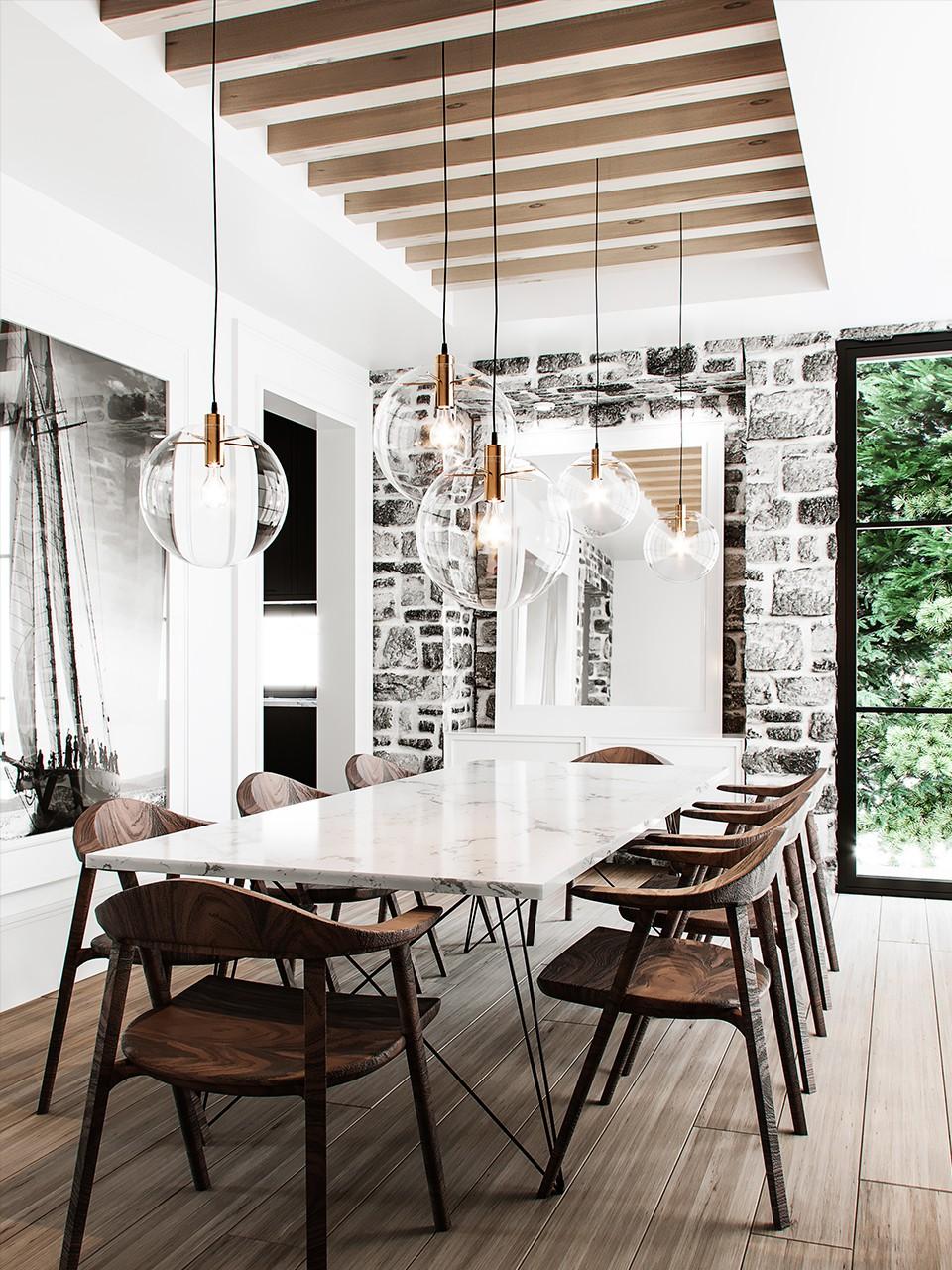 salle a manger grande table en marbre