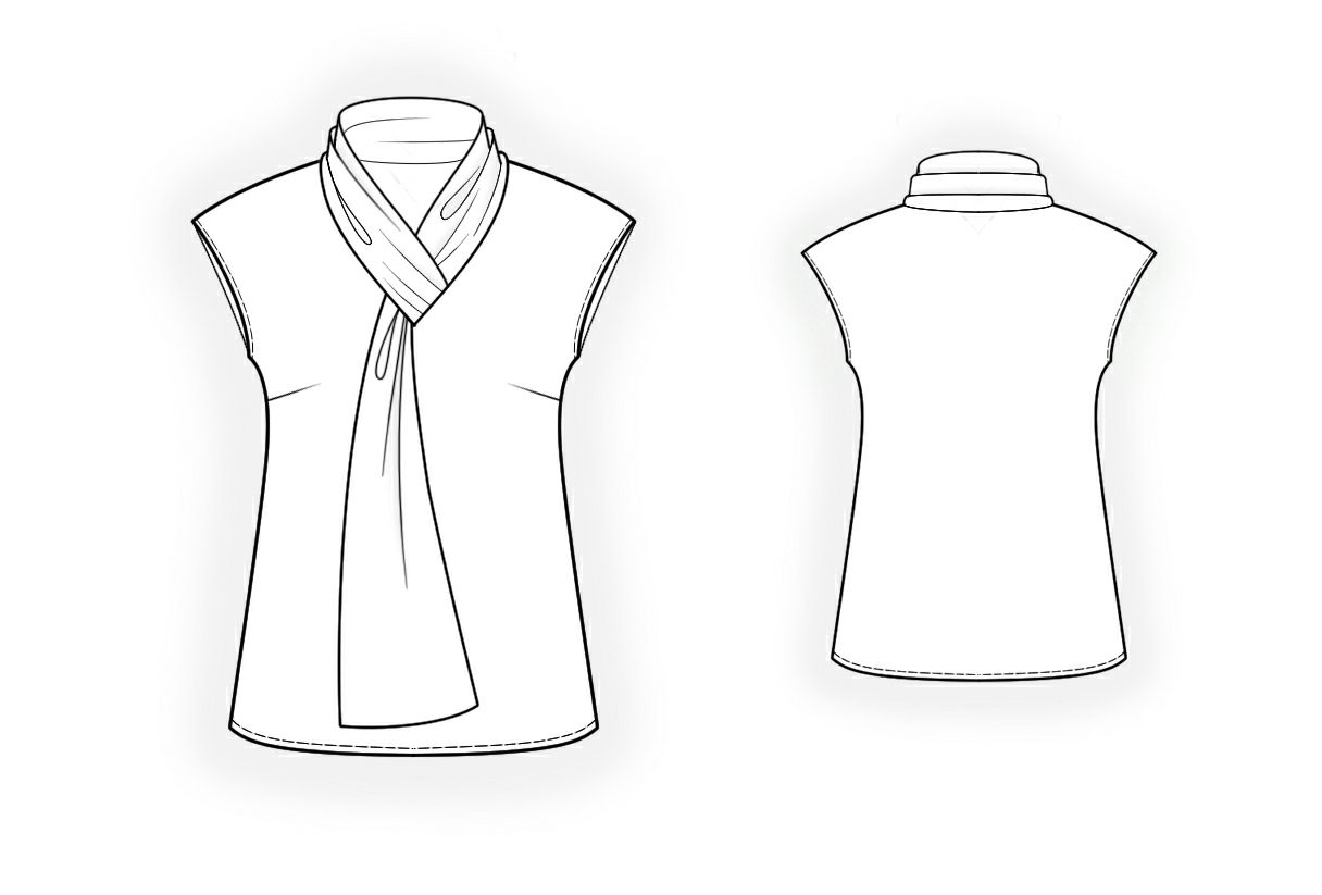 Blouse With Tie Collar