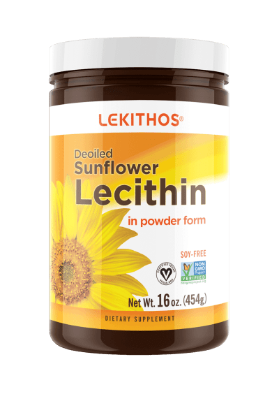 Lekithos Deoiled Sunflower Lecithin Powder - 16oz - Rich in Phosphatidylcholine, Non-GMO Project Verified, Vegan, Soy Free