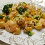 Pasta carbonara met garnalen, tilapiafilet en broccoli