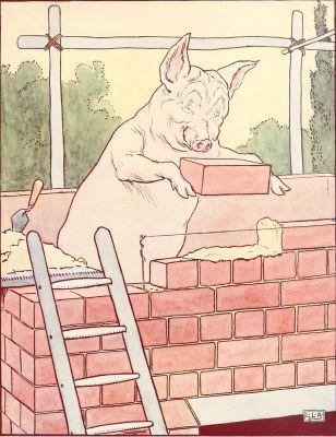 un petit cochon construit un mur de briques