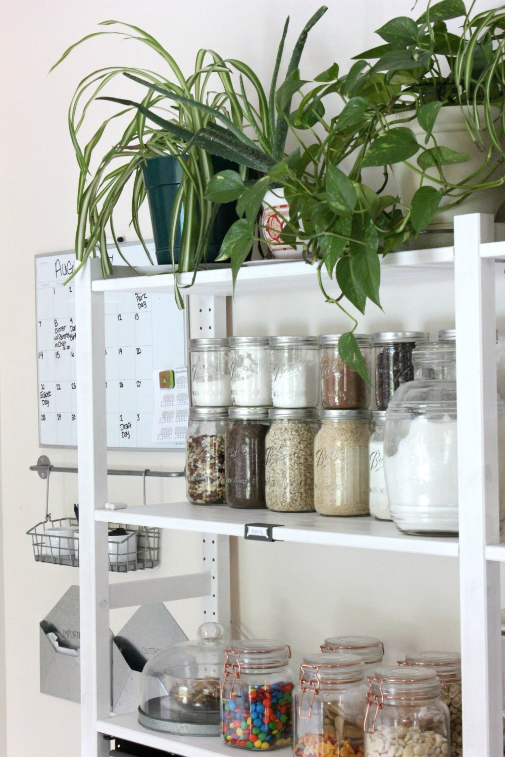 Open shelving kitchen pantry keeps you organized and saves money on groceries