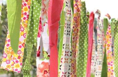 hanging summer fabric scrap garland