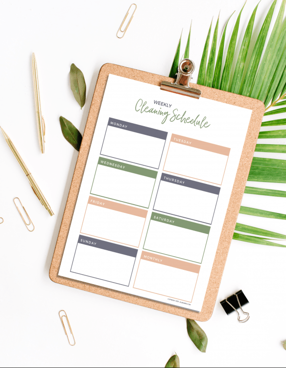 free printable weekly cleaning schedule planner