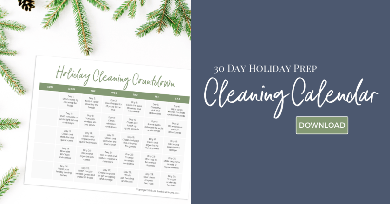 holiday planning cleaning calendar free printable