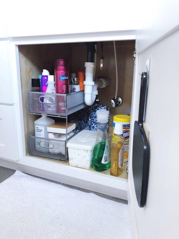 bathroom cabinet organization under sink