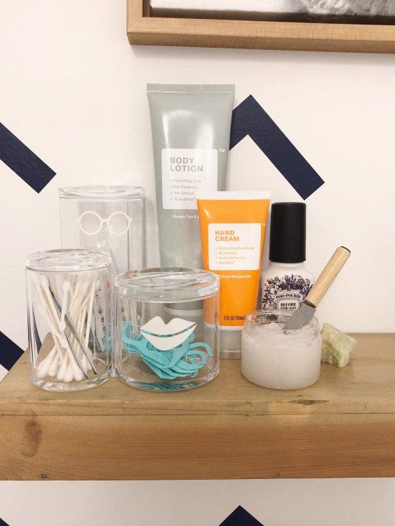 guest bathroom essentials and vinyl bathroom labels