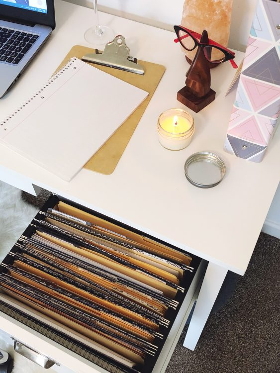 desk with filing cabinet organization