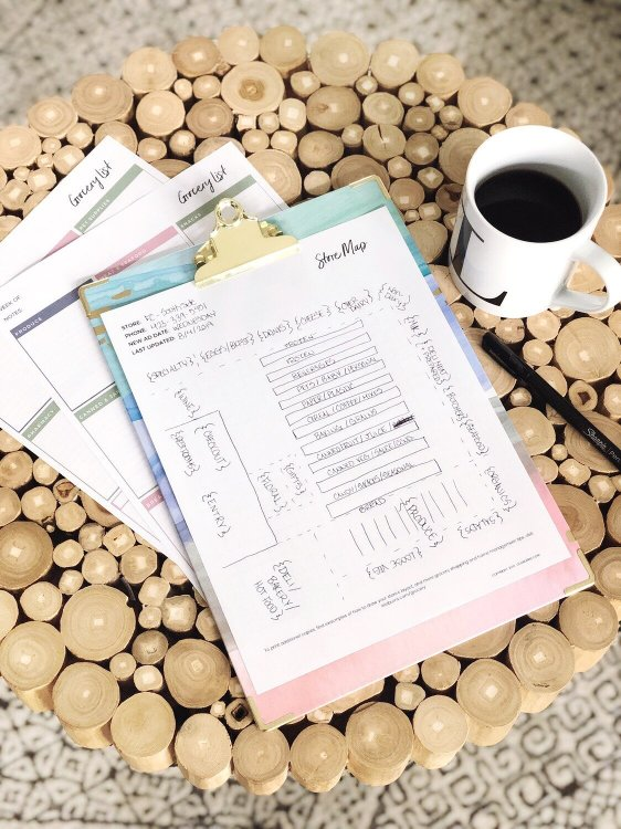 free printable grocery list and store map from Lela Burris Organized-ish