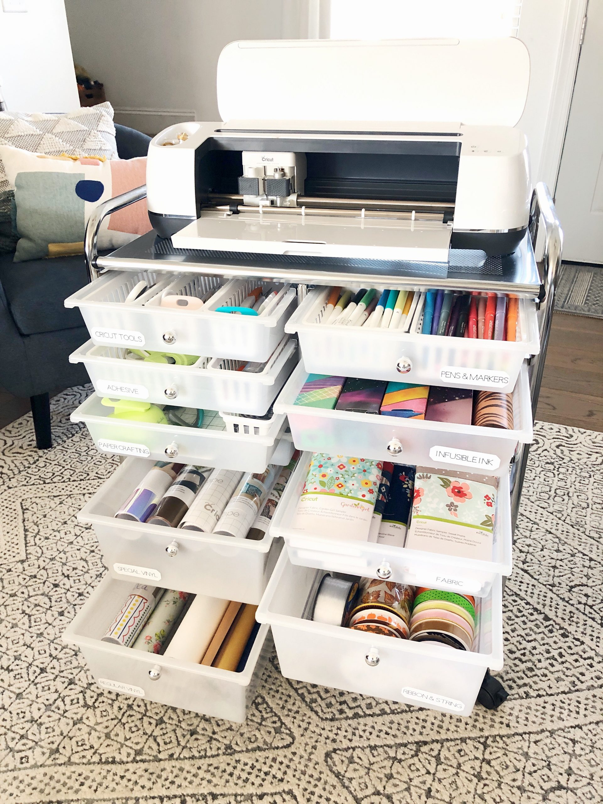 A Look Inside My Cricut Craft Cart Organized Ish By Lela Burris
