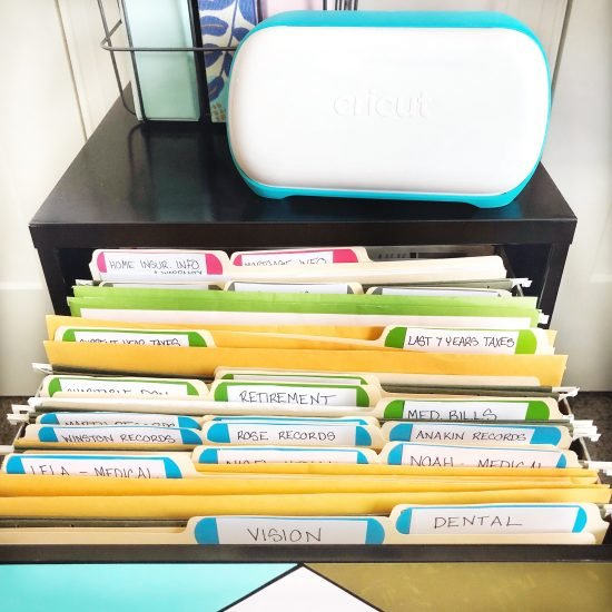 filing cabinet organization with cricut