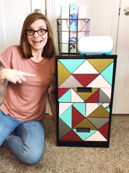 filing cabinet makeover with Cricut Joy