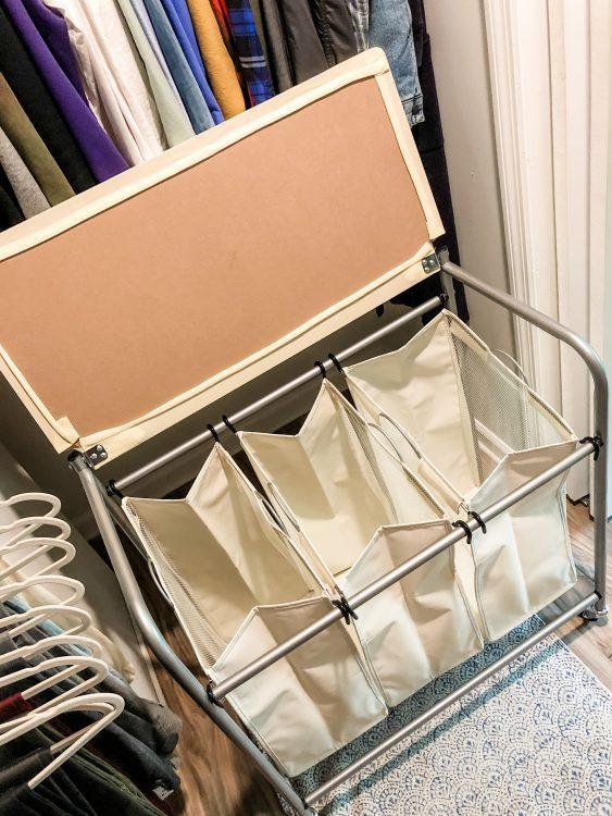three bag hamper for shared closet