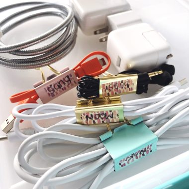 organized cords with binder clips