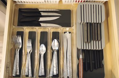 kitchen knives stored in silverware drawer