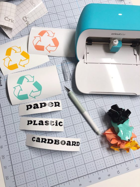 cricut joy recycling bin labels by lela burris Organized-ish