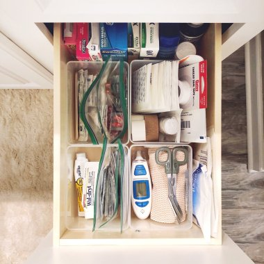 first aid kit drawer in bathroom