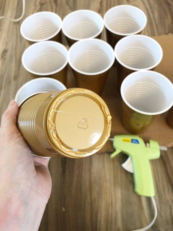 hefty cups for ornament organization