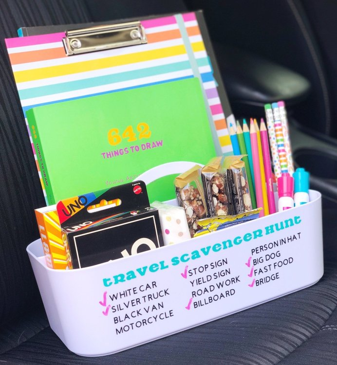 kids travel caddy with dry erase scavenger hunt game