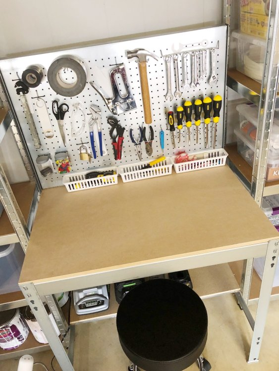 organized tool pegboard workbench in garage