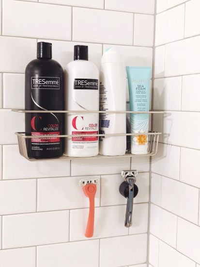 shower organization with command strips