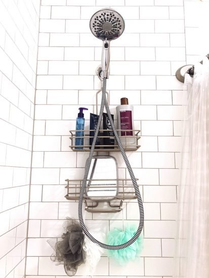 shower organization with hanging caddy