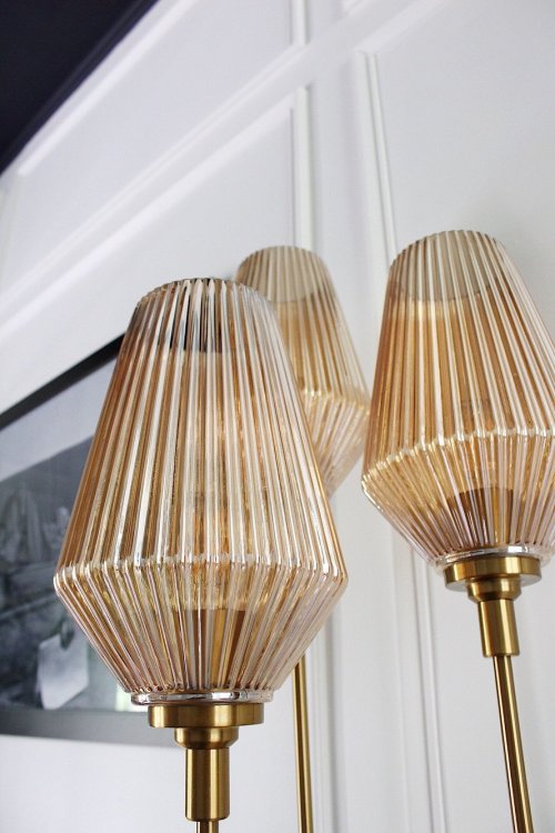 retro table lamp with amber glass