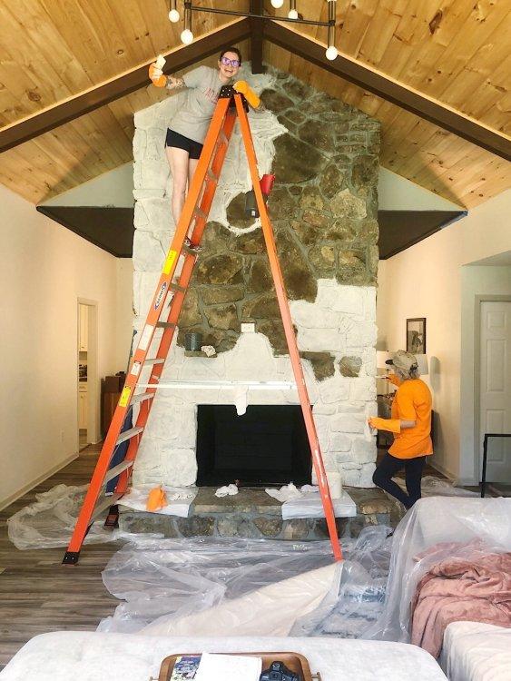 faux whitewash floating stone fireplace