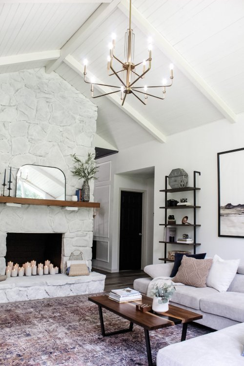 white stone fireplace makeover
