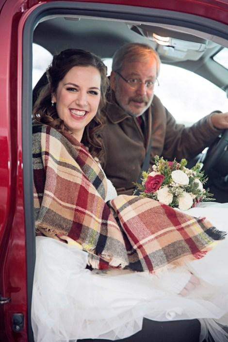 Leland Lodge | Fishtown Leland Hotel | Winter Wedding | Bride in Pickup Truck