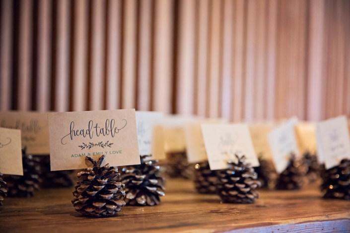 Leland Lodge | Fishtown Leland Hotel | Winter Wedding | Pinecone Name Cards