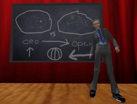 Cleng Beck at chalkboard