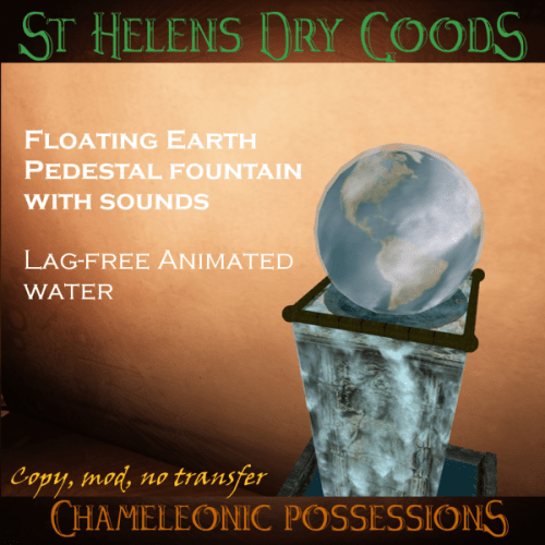 "Second Life animated fountain with ""floating earth"" on a goddess pedestal"